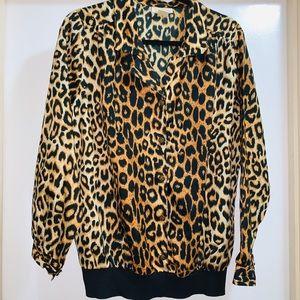 Vintage cheetah leopard print button up top